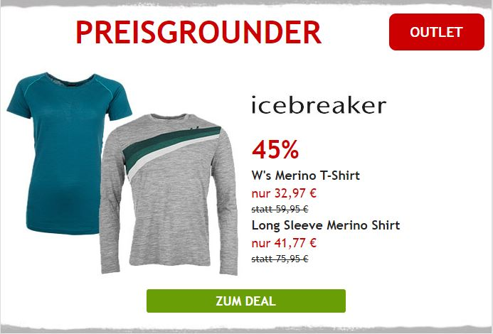 Nur heute 45% auf Merinoshirts von Icebreaker
