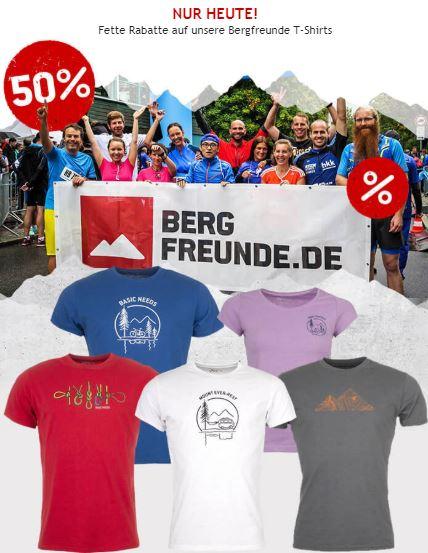 Nur heute 50% auf Bergfreunde T-Shirts