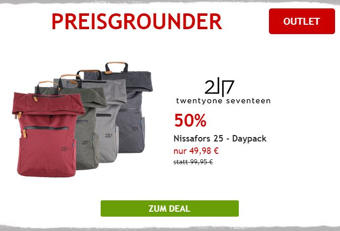 50% auf Daypack von 2117 of Sweden