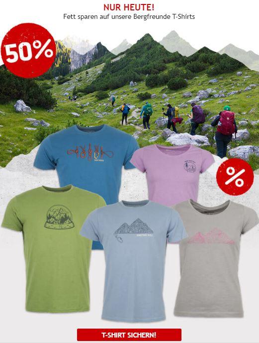 Nur heute: 50% auf Bergfreunde T-Shirts