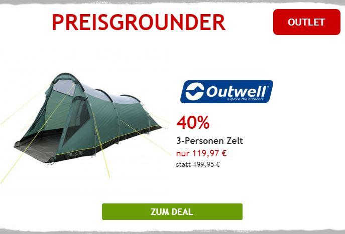 40% auf Outwell 3-Personen Zelt