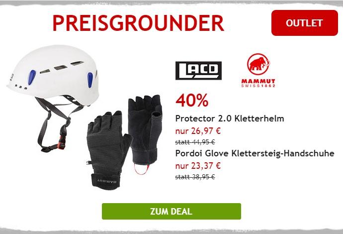 Nur heute: 40% auf Mammut Klettersteig-Handschuhe und LACD Kletterhelm