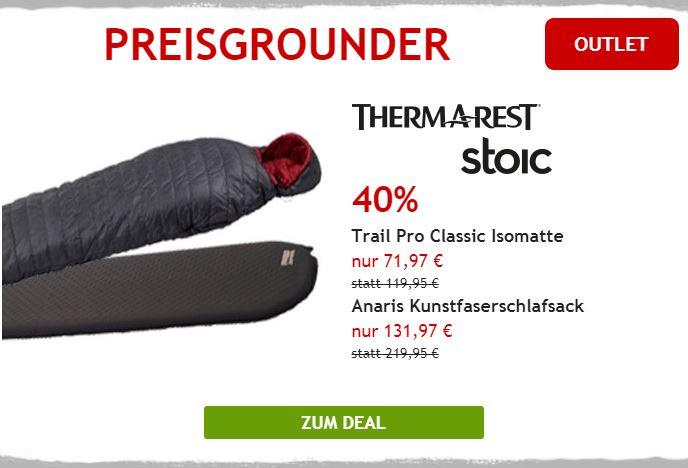 40% auf Therm-a-Rest Isomatte und Stoic Kunstfaserschlafsack