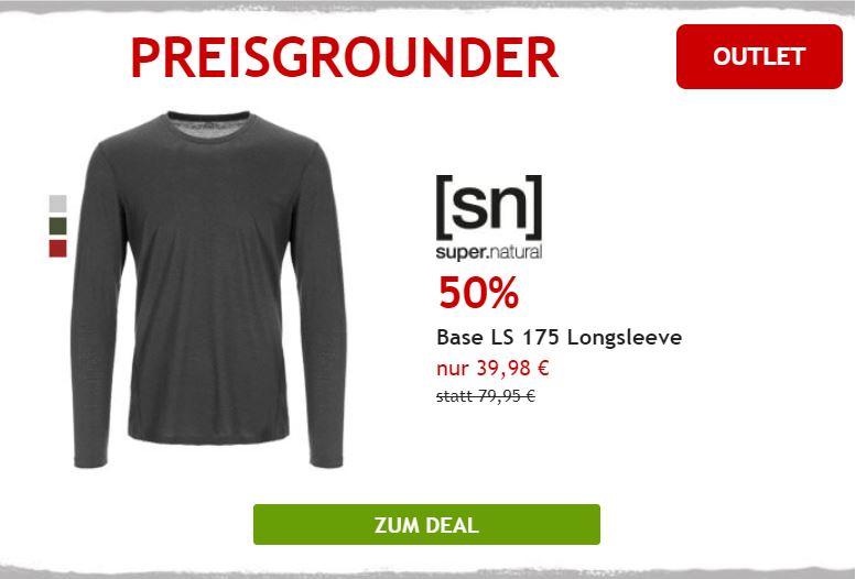 50% auf Merino Longsleeve von SuperNatural