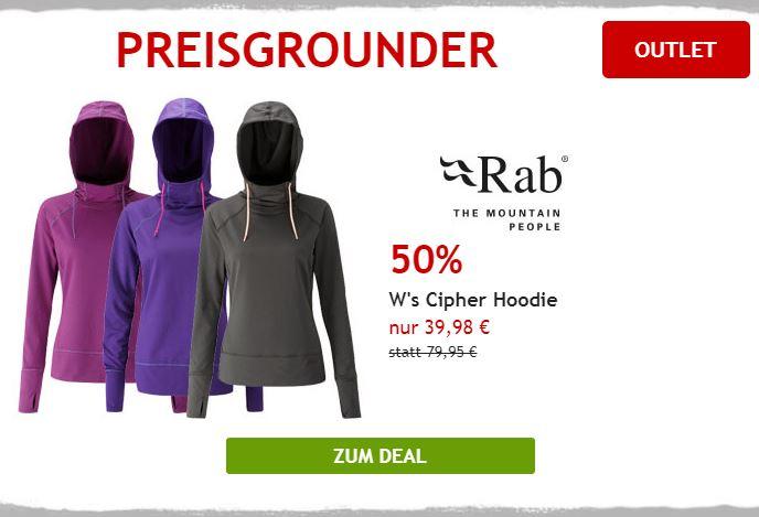 50% auf Hoodie von Rab